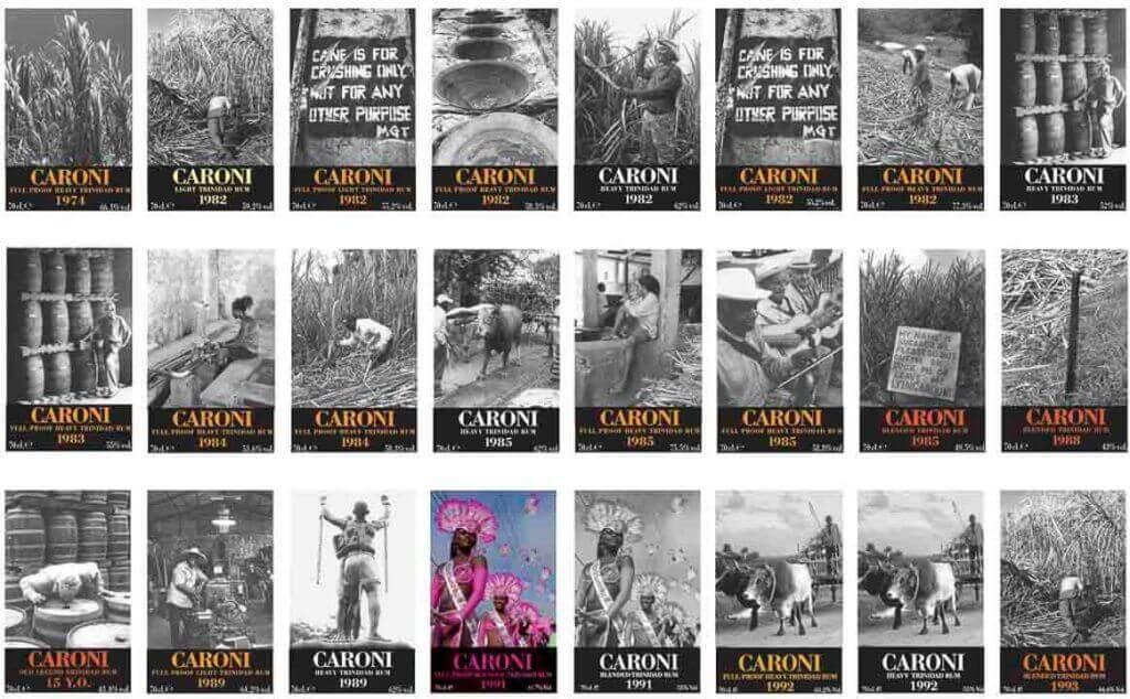 collezione etichette rum Caroni